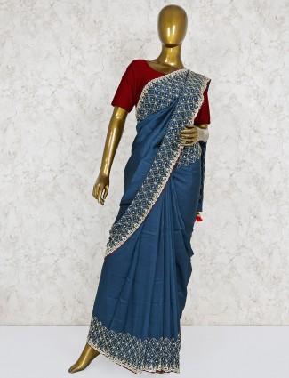 Rama green lovely saree in semi silk