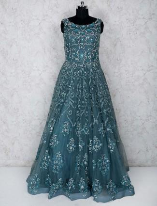 Rama green net floor length gown