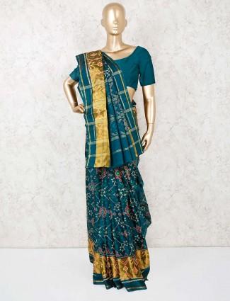 Rama green pretty cotton silk saree