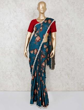 Rama green printed satin saree