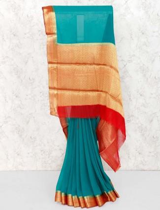 Rama green saree in georgette fabric