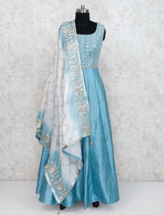 Raw silk aqua hue floor length anarkali salwar suit