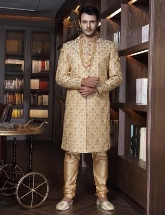 Raw silk beige designer groom sherwani