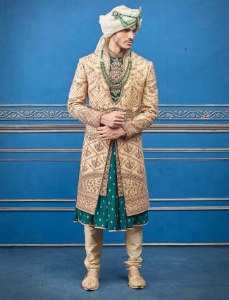 Raw silk beige green jecket style designer sherwani