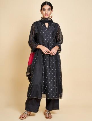 Cotton silk black punjabi palazzo set
