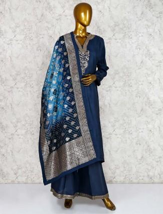 Raw silk blue punjabi palazzo suit