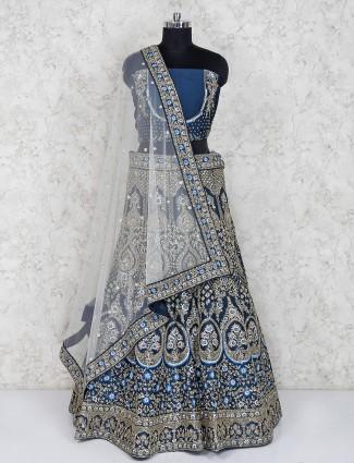 Raw silk blue semi stitched bridal lehenga choli