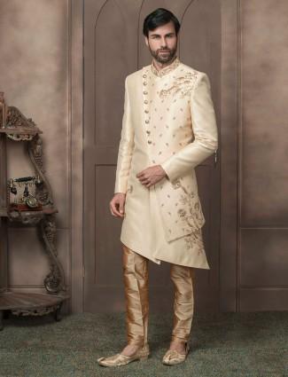 Raw silk cream color wedding wear indo western
