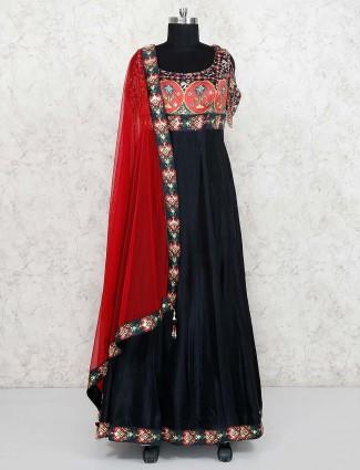 Raw silk fabric black color printed anarkali salwar suit