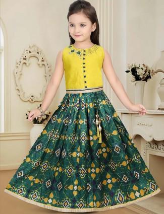 Raw silk fabric green and yellow hue lehenga choli