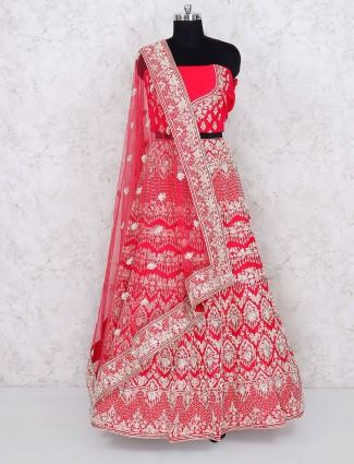 Raw silk fabric magenta color semi stitched lehenga choli