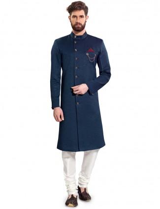 Raw silk fabric rama blue semi indo western