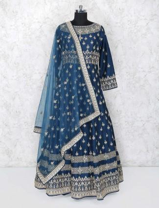 Raw silk fabric rama green floor length gown