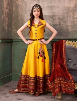 Raw silk fabric yellow hue anarkali suit