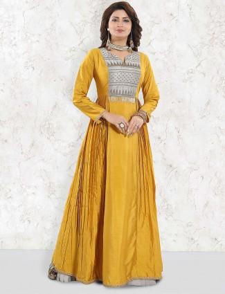 Raw silk floor length anarkali salwar suit in gold