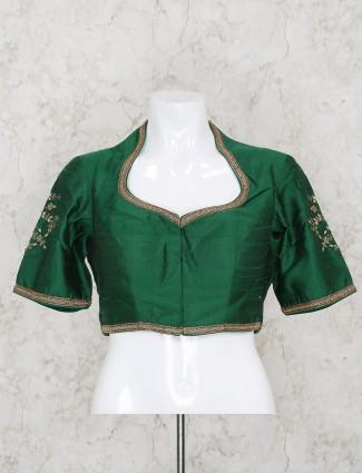 Raw silk green hue ready made blouse