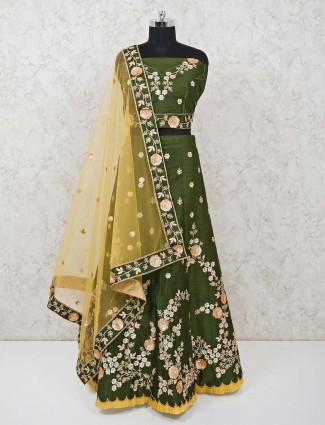 Raw silk green semi stitched lehenga choli
