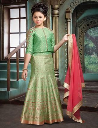 Raw silk light green hue lehenga choli