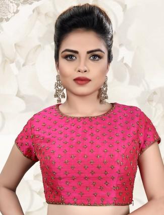 Raw silk magenta ready made blouse