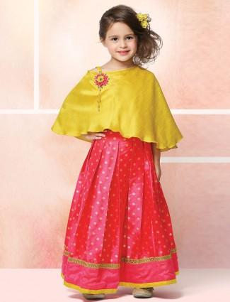 Raw silk mustard and pink color lehenga choli