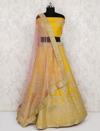 Raw silk mustard yellow bridal semi stitched lehenga choli