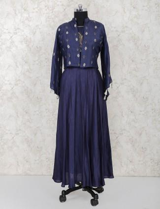 Raw silk navy jecket style festive long salwar suit