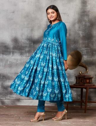 Raw silk printed teal blue punjabi salwar suit