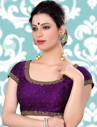Raw silk ready made purple blouse