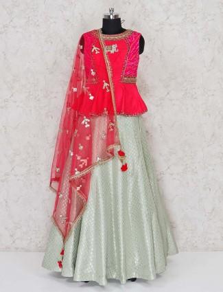 Raw silk red and pista green wedding lehenga choli