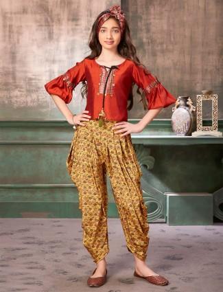 Raw silk rust orange printed punjabi dhoti suit