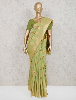 Reception pista green handloom cotton silk saree