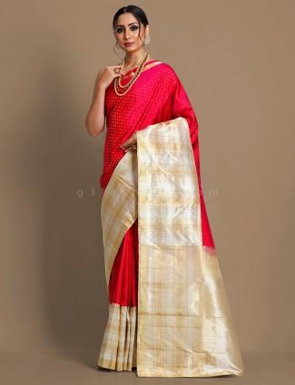 Magenta kanjivaram silk reception wear saree