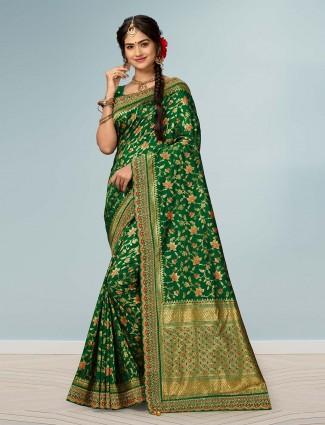 Reception wear green banarasi silk saree