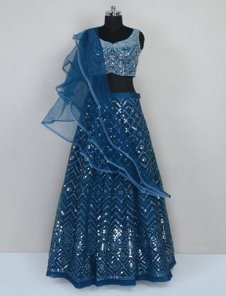 Reception wear rama blue lehenga for women