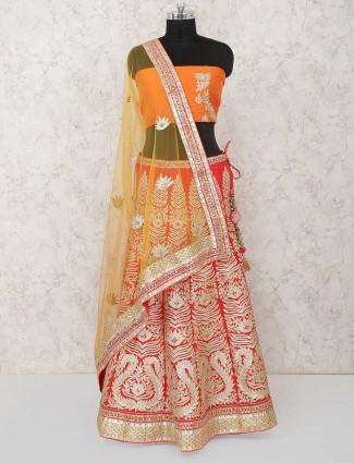 Red and orange cotton silk bridal semi stitched lehenga choli