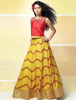 Red and yellow raw silk fabric party lehenga choli