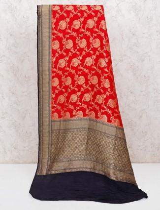 Red banarasi silk wedding saree