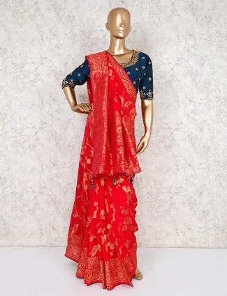 Red banarasi silk wedding saree with ready made blouse