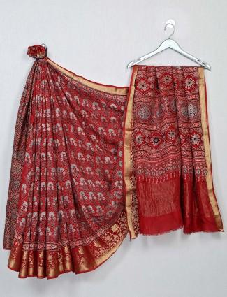 Red bandhej fabric saree for festive