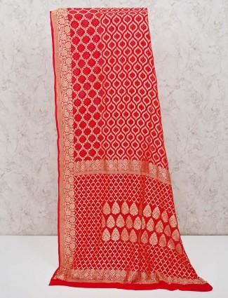 Red bandhej saree in printed