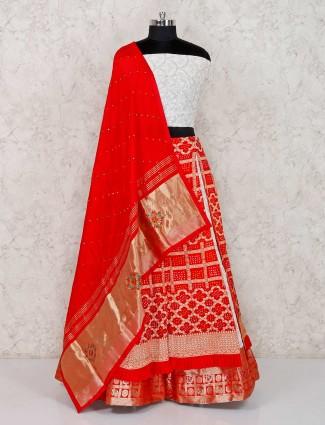 Red bandhej wedding semi stitched lehenga choli