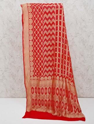 Red bandhej zari weaving printed saree