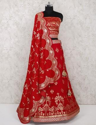 Red bridal silk semi stitched lehenga choli