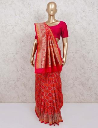 Red classic banarasi silk saree