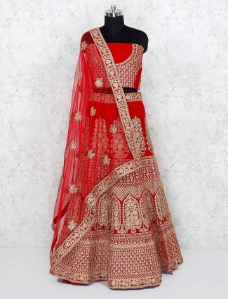 Red color bridal velvet semi stitched lehenga choli
