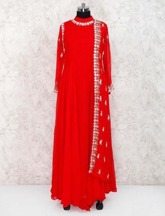 Red color georgette designer long salwar suit