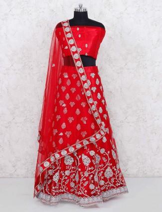 Red color net fabric bridal semi stitched lehenga choli