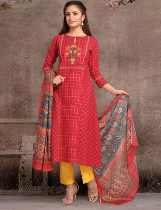 Red color round neck punjabi salwar suit