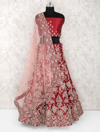 Red color semi stitched silk bridal lehenga choli