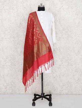 Red color silk fabric dupatta